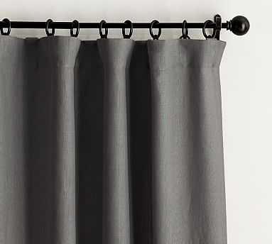 "Belgian Flax Linen Drape, Blackout Lining, 50x96"", Charcoal - Pottery Barn"