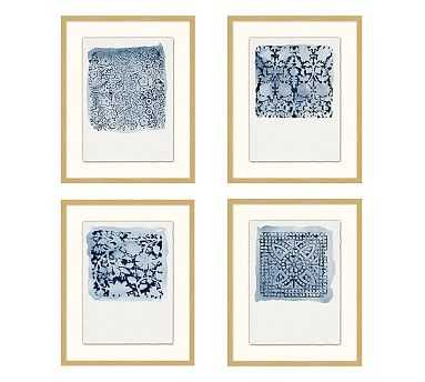 "Textile Stamp Framed Prints, 16 x 20"", Set of 4 - Pottery Barn"
