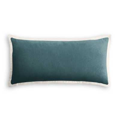 Lumbar Pillow  Classic Velvet - Peacock with Flange Trim - Loom Decor
