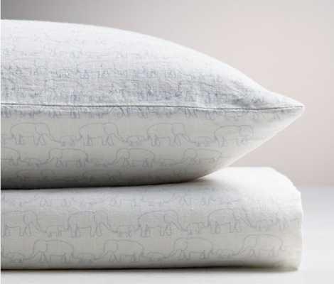 washed organic linen elephant print crib fitted sheet-Crib - Cloud - ITEM#104392 CLEL CRIB - RH Baby & Child
