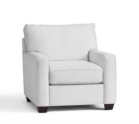 BUCHANAN SQUARE ARM UPHOLSTERED ARMCHAIR, Twill, White - Pottery Barn