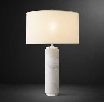 CYLINDRICAL COLUMN MARBLE TABLE LAMP - RH