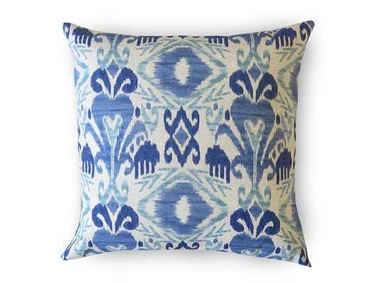 "Ikat Outdoor Pillow Cover - Blue, 18""x18""., no insert - Willa Skye"