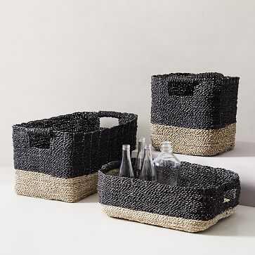 Two-Tone Woven Storage Basket, Black/Tan Underbed - West Elm
