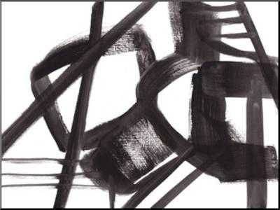"""BLACK AND WHITE ABSTRACT PAINTING 3 - 33.5"""" x 25"""" Mounted Print - art.com"""