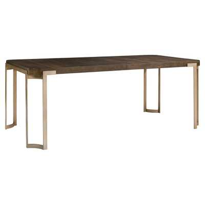 Patrick Rustic Antique Brass Oak Wood Dining Table - Kathy Kuo Home