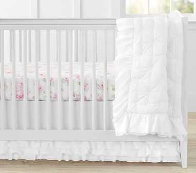 Organic Sadie Ruffle Toddler Quilt, White - Pottery Barn Kids