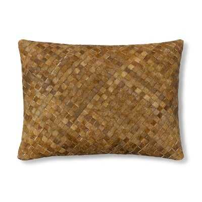 """Woven Leather Hide Pillow Cover/Canvas Back, 12"""" X 16"""", Brown - Williams Sonoma"""