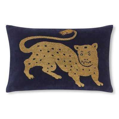 """Tibetan Tiger Velvet Pillow Cover, 14"""" X 22"""", Navy/Gold - Williams Sonoma"""