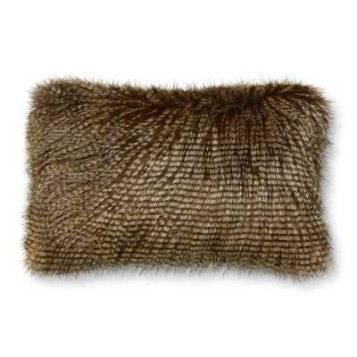 "Faux Fur Pillow Cover, 14"" X 22"", Brown Owl Feather - Williams Sonoma"