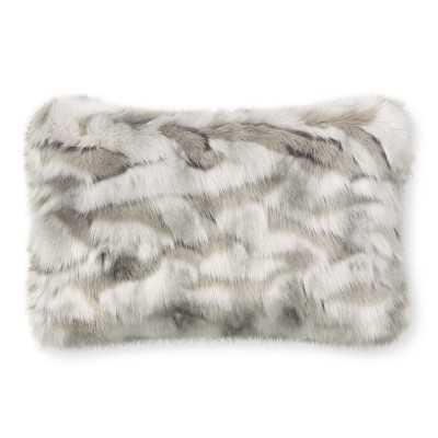 """Faux Fur Pillow Cover, 14"""" X 22"""", Gray Fox - Williams Sonoma"""
