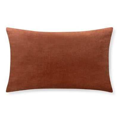 """Velvet Lumbar Pillow Cover, 14"""" X 22"""", Shrimp - Williams Sonoma"""