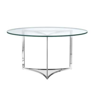 Trefoil Dining Table With Glass Top, Round, 56 - Williams Sonoma