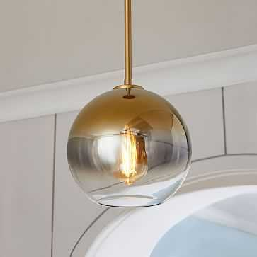 Sculptural Glass Globe Pendant, Small Globe, Gold Ombre Shade, Brass Canopy - West Elm