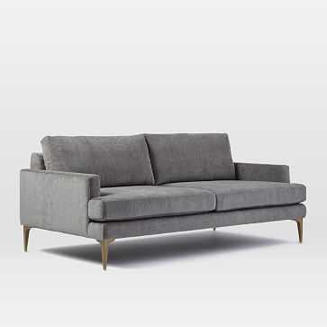 Andes Sofa, Worn Velvet, Metal, Blackened Brass Legs - West Elm