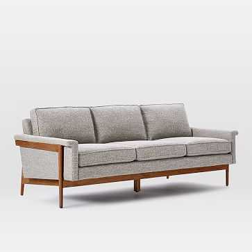 Leon Wood Frame Sofa- 3 Seater, Feather Gray, Retro Weave - West Elm