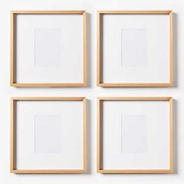 "Thin Wood Gallery Frame,, Set of 4,  (12"" X 12"" Without Mat, 5x7 With Mat) - West Elm"