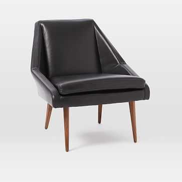 Parker Leather Slipper Chair, Black - West Elm
