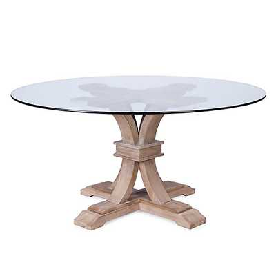 Archer Wash Oak Fixed Pedestal Table With Glass Top - Z Gallerie