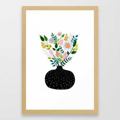 "Flowers in a Vase - 22"" x 31"" -  15"" x 21"" Conservation Natural Frame - Society6"