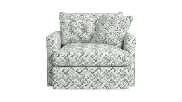 Lounge II 360 Petite Swivel Chair-CUSTOM Elton, Granite - Crate and Barrel