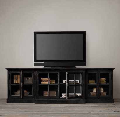 "FRENCH CASEMENT 100"" MEDIA CONSOLE - Black Oak Drifted - RH"