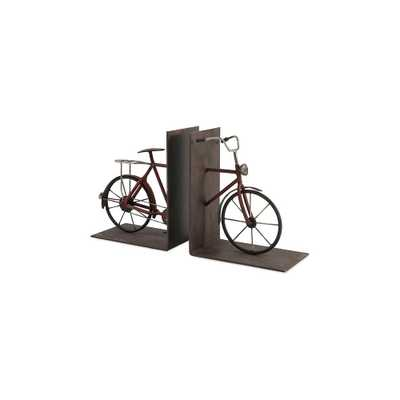 Bisiklet Rustic Brown Iron Bookends (Set of 2) - Home Depot