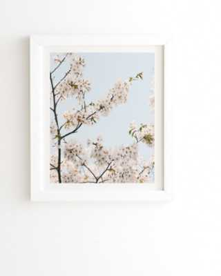 "CHERRY BLOSSOMS IN SEOUL Framed Wall Art - 8"" x 9.5"" Basic White Frame - Wander Print Co."