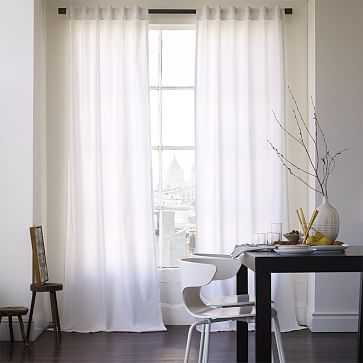 "Cotton Canvas Pole Pocket Curtain, 48""x96"", White, Blackout Lining, Set of 2 - West Elm"