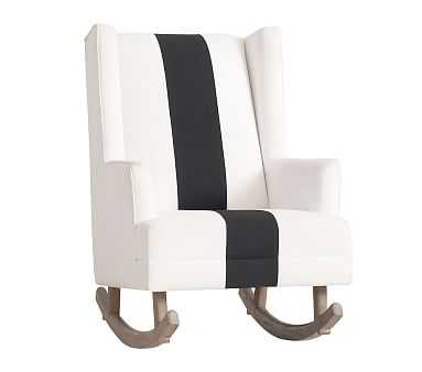 The Emily & Meritt Wingback Convertible Rocker, Performance Basketweave Bone with Black Stripe - Pottery Barn Kids