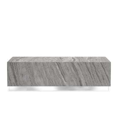 Travertine Rectangle Coffee Table, Travertine, Grey, Stainless Steel - Williams Sonoma