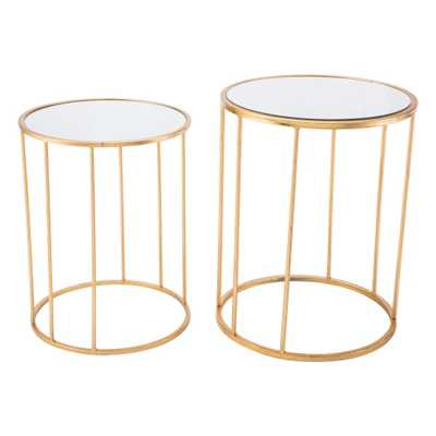 Finita Gold Nesting Round Tables (Set of 2) - Home Depot