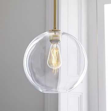 Sculptural Glass Globe Pendant, Medium Globe, Clear Shade, Brass Canopy - West Elm