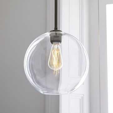 Sculptural Glass Globe Pendant, Medium Globe, Clear Shade, Bronze Canopy - West Elm