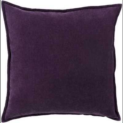 """Cotton Velvet Dark Purple Pillow - 20"""" x 20""""  - Down Filler - Neva Home"""
