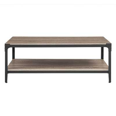 Angle Iron Driftwood (Brown) Storage Coffee Table - Home Depot