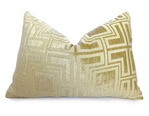 Velvet Greek Key Pillow Cover - Gold - Willa Skye