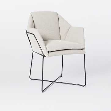 Dining Chairs, Heavy Stone Wash Print - Ecru, Gunmetal Legs - West Elm