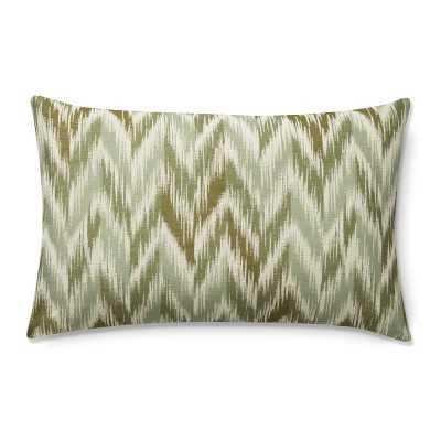 "Talla Chevron Ikat Jacquard Lumbar Pillow Cover, 14"" X 22"", Green - Williams Sonoma"