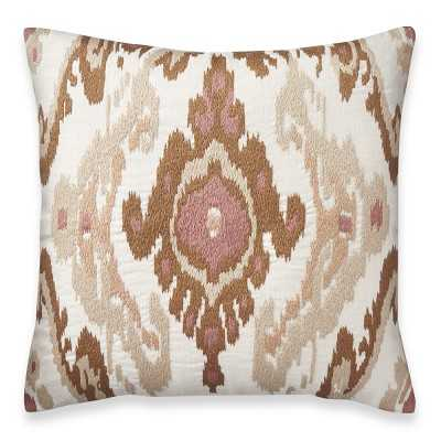 "Istanbul Ikat Embroidered Pillow Cover, 22"" X 22"", Coral - Williams Sonoma"