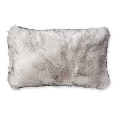 "Faux Fur Lumbar Pillow Cover, 14"" X 22"", Siberian Wolf - Williams Sonoma"