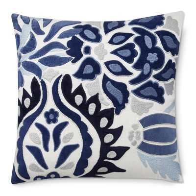 """Izlara Floral Applique Pillow Cover, 20"""" X 20"""", Blue - Williams Sonoma"""