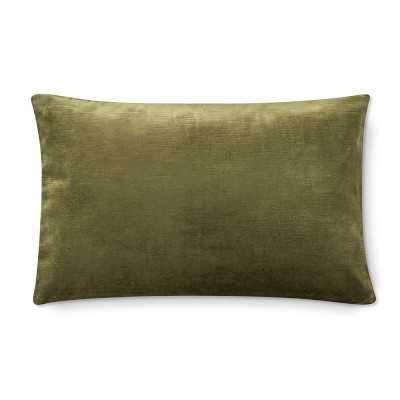 """Velvet Lumbar Pillow Cover, 14"""" X 22"""", Sage - Williams Sonoma"""