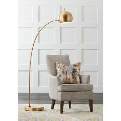Capra Chairside Arc Floor Lamp Antique Brass - Style # 33D06 - Lamps Plus