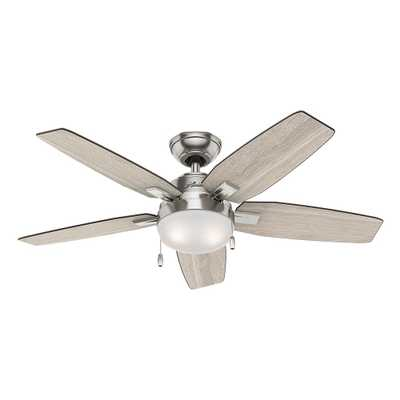 Hunter Antero 46 in. LED Indoor Brushed Nickel Ceiling Fan with Light - Home Depot