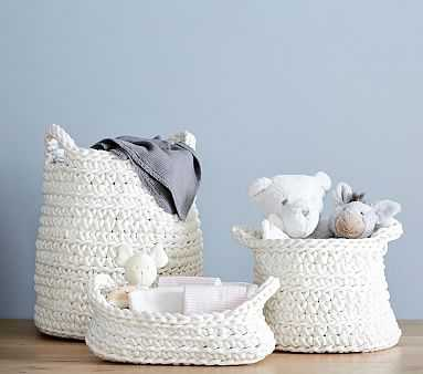 Chunky Knit Small Basket, Ivory - Pottery Barn Kids