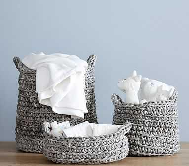 Chunky Knit Large Basket, Gray - Pottery Barn Kids