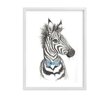 Dapper Zebra Wall Art by Minted(R) 18x24, White - Pottery Barn Kids