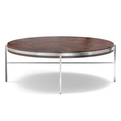 Bianca Coffee Table, Burl Wood, Polished Nickel - Williams Sonoma