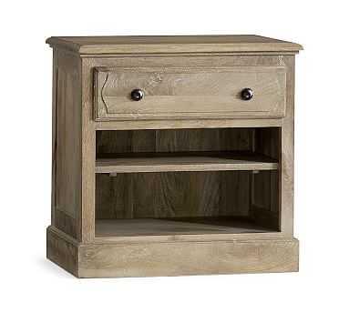 Linden Wood Paneled Bedside Table, Belgian Gray - Pottery Barn